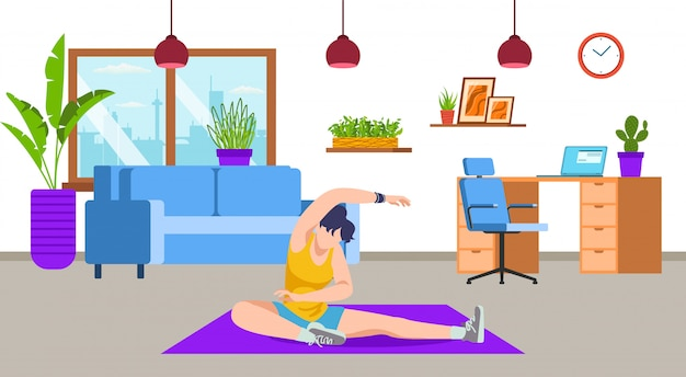 Active girl doing yoga, workout, sport exercise, fitness at home living room  illustration. sport activity and healthy lifestyle, training. weight loss and sporty body, stretching at home woman.
