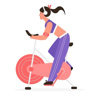 Active girl rides at exercise stationery bike   illustration concept.