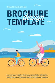 Active grandfather and grandson riding bikes together flyer template