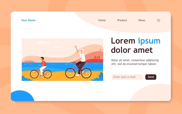 Active grandfather and grandson riding bikes together. old man and boy cycling outdoors flat  landing page. lifestyle, activity, family concept for banner, website design or landing web page