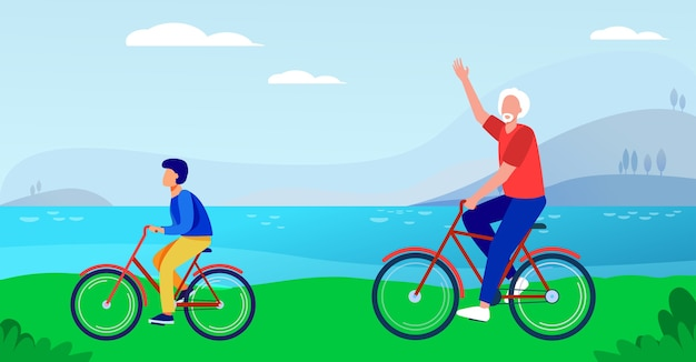 Active grandfather and grandson riding bikes together. old man and boy cycling outdoors flat vector illustration. lifestyle, activity, family concept