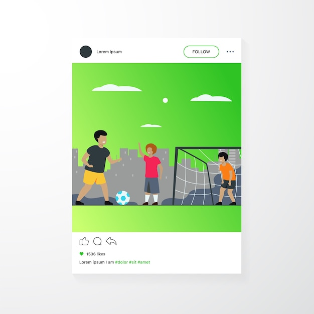 Active happy children playing football outdoors isolated flat vector illustration. cartoon boys playing soccer, running and kicking ball on playground