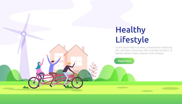 활동적인 건강한 라이프 스타일 습관 개념. 문자 다이어트 식품 영양 그림입니다. 웹 페이지, 프리젠 테이션, 소셜 프로모션 또는 인쇄 매체를위한 스포츠 운동 및 훈련 야외 운동