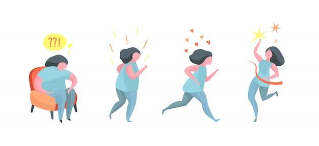 체중 감량 결과를 잃고 실행중인 건강한 여성