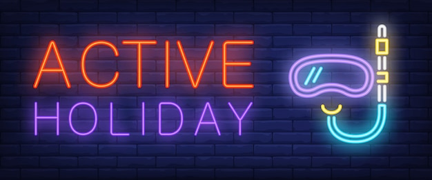 Active holiday neon text with diving mask and snorkel