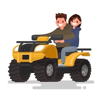 アクティブな休日。四輪バイク。男と女はatvに乗っています。図