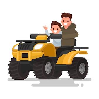 Active holidays. quad biking. man and boy are riding a quad bike.   illustration