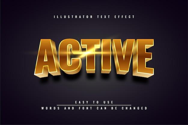 Активный - иллюстрация 3d дизайн с редактируемым текстовым эффектом золота