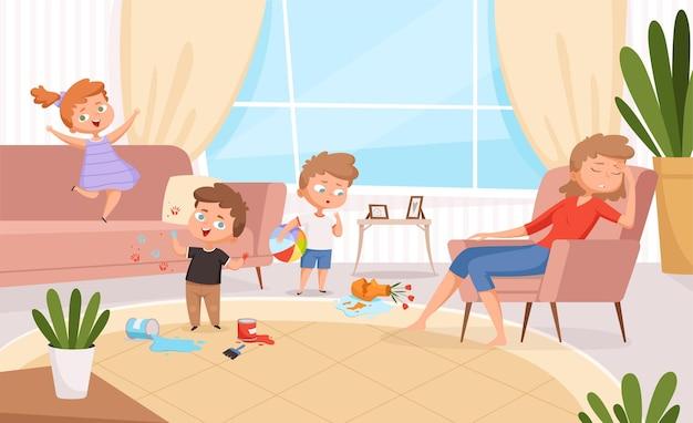 アクティブな子供たち。居間でゲームをしている子供たち