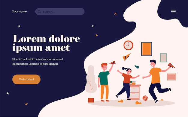 Active kids playing with paper planes. children making mess at home flat vector illustration. childhood, leisure, activity concept for banner, website design or landing web page