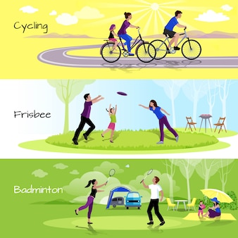 Active leisure people horizontal banners with sports events in spare time
