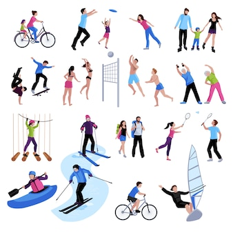 Active leisure people icons set
