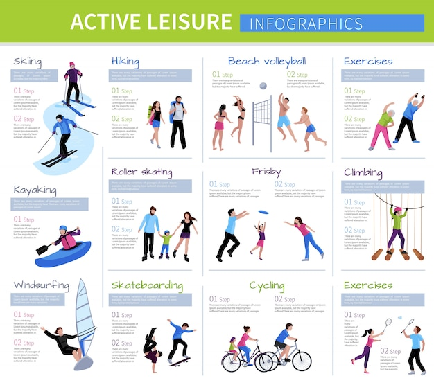 Active leisure people infographics with different games and activities