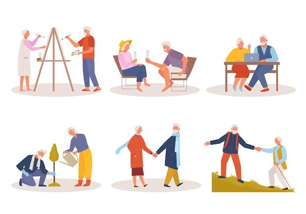 활동적인 삶의 노인. 노인 여성 그리기, 안경 리조트에서 휴식, 노트북에 앉아, 나무 심기 함께 활발하게 산악 지형을 걷는다.