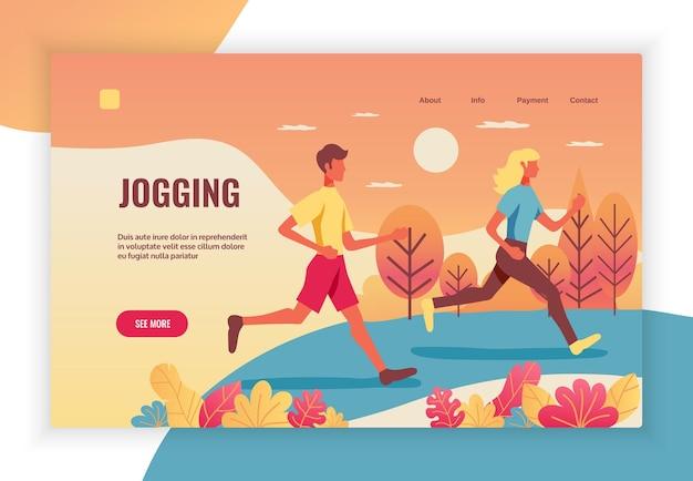 Stile di vita attivo fitness sport benefici per la salute concetto flat web con coppia che fa jogging nella pagina di destinazione del parco