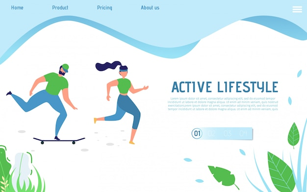Active lifestyle landing page for sporty people