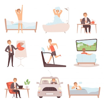 Active man daily routine. lifestyle everyday businessmen work busy people vector character isolated