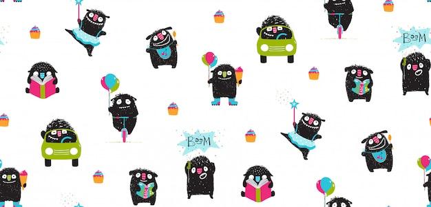Active monsters for kids print pattern design