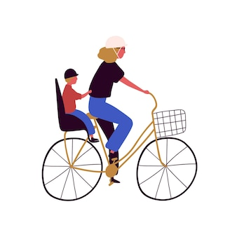 Active mother and son ride on bike vector flat illustration