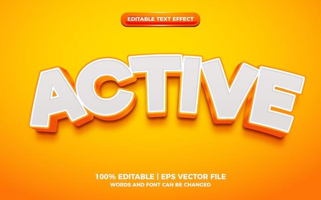 Active orange bold 3d editable text effect