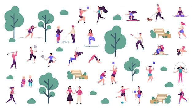 활동적인 야외 생활. 사람들이 건강한 라이프 스타일과 공원 스포츠 활동, 야외 게임, 조깅 및 실행 그림 아이콘을 설정합니다. 야외 소년 훈련, 스케이트 보드 및 연주