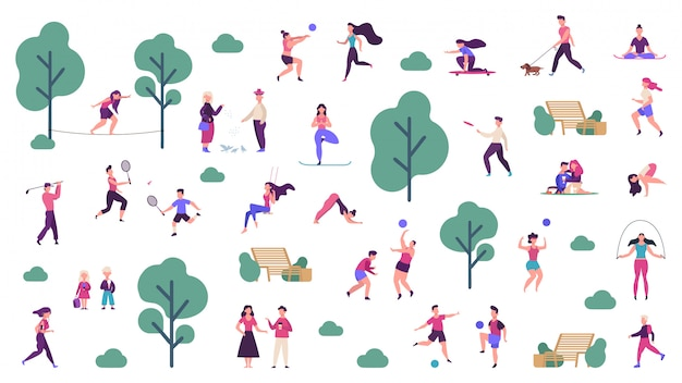 Active outdoor lifestyle. people healthy lifestyle and park sport activities, outdoor games, jogging and running  illustration icons set. outdoor boy training, skateboarding and playing