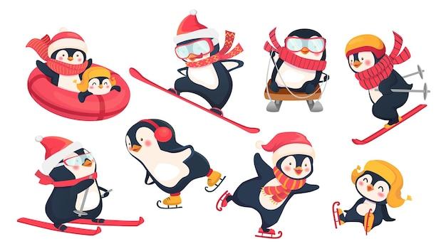 Активные пингвины зимой. зимние виды спорта на праздниках плоской иллюстрации Premium векторы