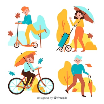 Active people autumn in park illustration