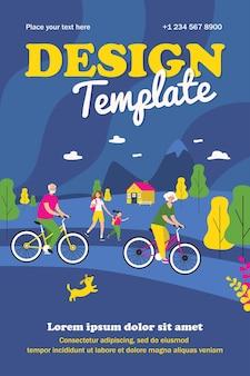 활동적인 사람들이 자전거와 야외에서 걷는 템플릿