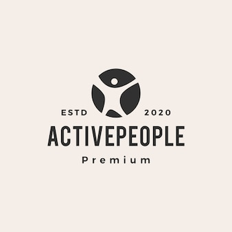 Active people hipster vintage logo icon illustration