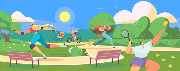 Активные люди в парке, здоровый спортивный образ жизни, иллюстрация