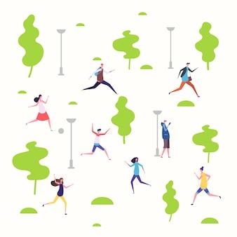 春の公園でアクティブな人々、ウォーキング、ランニングの人々のイラスト