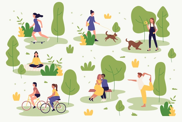 Active people in summer park  illustration. cartoon characters activities walking, cycling, doing yoga, resting playing and jogging. outdoor city park activity