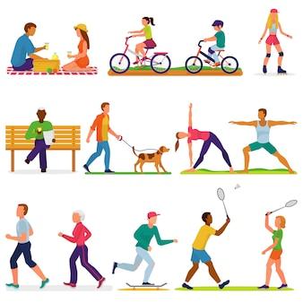 アクティブな人々は、フィットネストレーニングをトレーニングスポーツ活動で女性または男性のキャラクターをベクトルします。