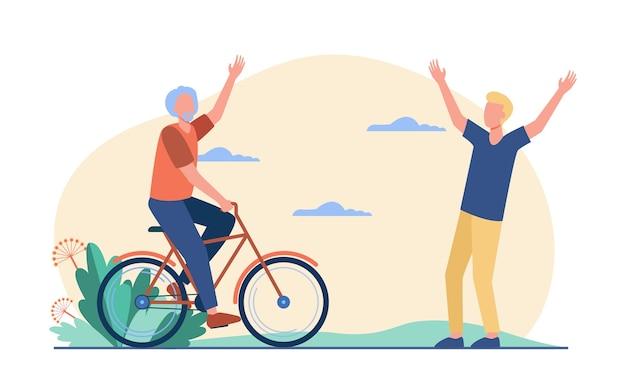 屋外で会うアクティブなシニアと若い男性。自転車に乗って、父と息子のフラットベクトルイラスト。ライフスタイル、関係、活動の概念
