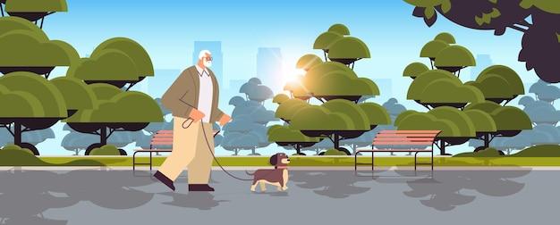 Активный старший мужчина гуляет в парке со своим дедушкой-собачкой, расслабляясь с домашним животным в городском парке, горизонтальная полная длина векторная иллюстрация