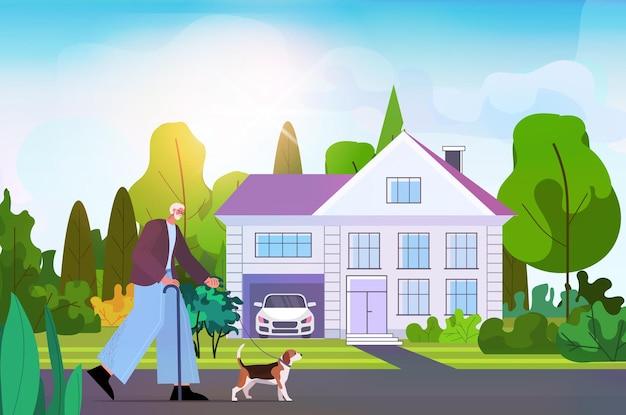 Активный старший мужчина идет со своей маленькой собачкой дедушкой, расслабляющейся с домашним животным возле коттеджа горизонтальная полная длина векторная иллюстрация