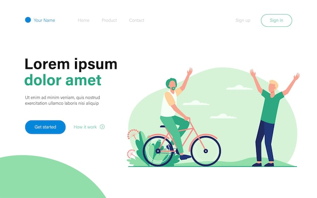 Active senior and young men meeting outdoors. riding bike, father and son flat  illustration. lifestyle, relationship, activity concept website design or landing web page
