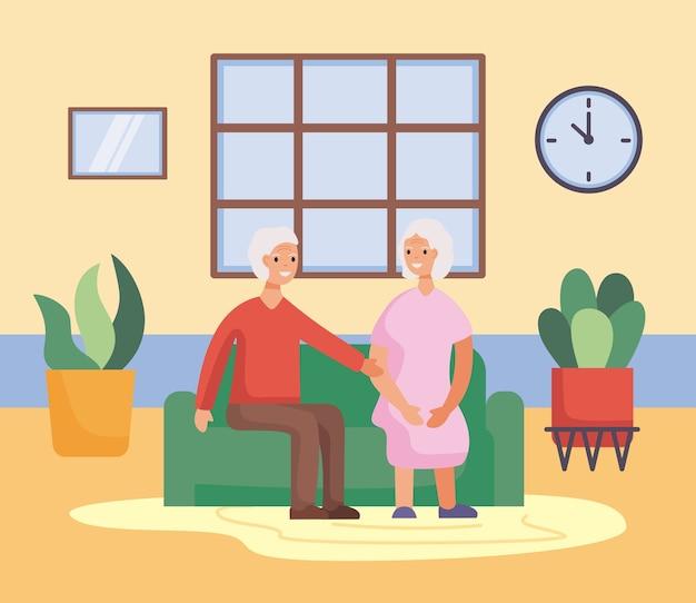 거실 일러스트 디자인에 활동적인 노인 부부