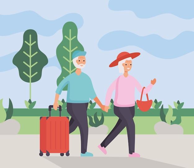 Пара активных пожилых людей, путешествующих с дизайном иллюстрации чемоданов