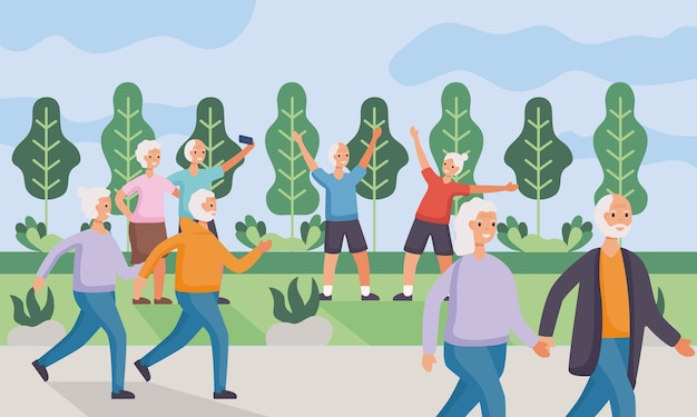 Active seniors couples practicing activities in the camp illustration design