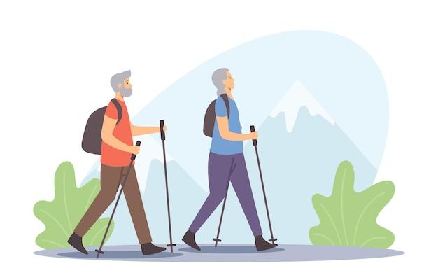 활동적인 노인 건강한 생활 방식. 노인 노르딕 워킹, 막대기로 야외 운동. 노부부 야외 스포츠