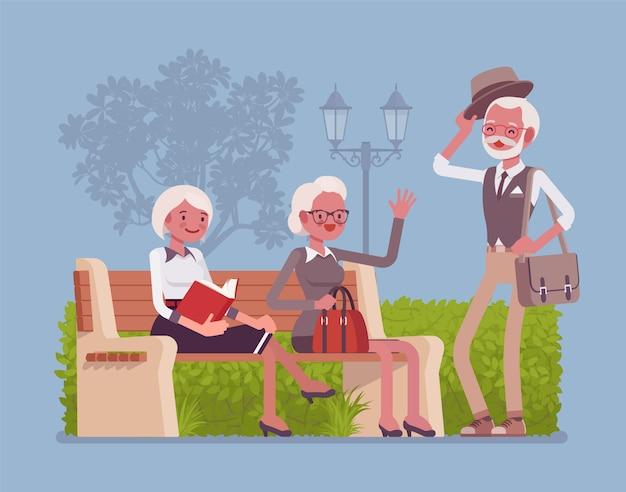 Активные старшие в парке. пожилые пенсионеры наслаждаются здоровым образом жизни и позитивным взглядом на жизнь, встречаются с друзьями и отдыхают на свежем воздухе, в безопасной социальной среде. иллюстрации шаржа стиля