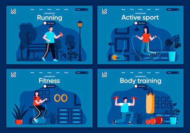 활동적인 스포츠 플랫 방문 페이지 설정 웹 사이트 또는 cms 웹 페이지를위한 체육관에서 조깅 및 리프팅 아령 장면에서의 근력 및 심장 훈련. 신체 훈련, 피트니스 및 달리기 그림.
