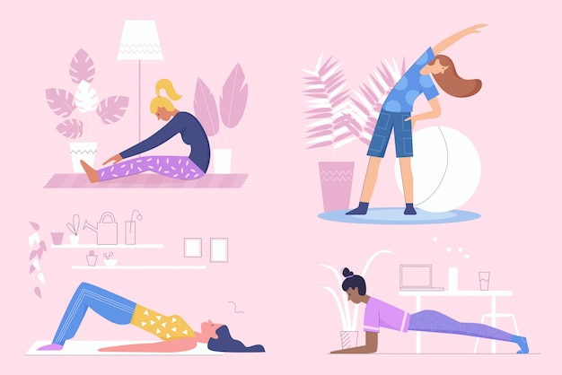 Active sportive girls do morning exercises, fitness at home flat character illustration set