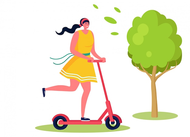 Active sports people  illustration, cartoon  happy woman character riding kick scooter in summer city park  on white