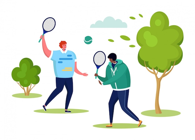 Active sports people  illustration, cartoon  man characters playing tennis together in summer outdoor city park  on white