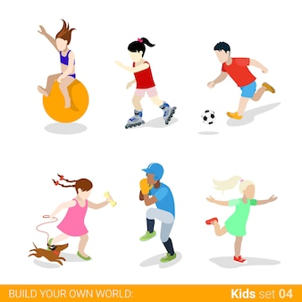 Insieme dell'icona di concetto di infografica web bambini adolescenti sportivi attivi.