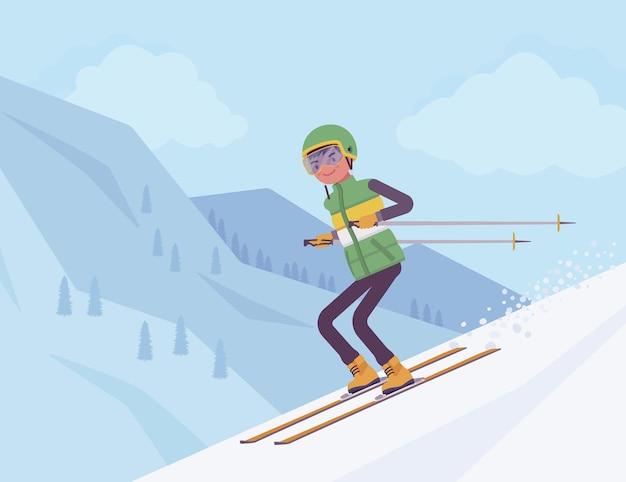활성 스포티 한 남자 내리막 스키, 리조트에서 겨울 야외 재미를 즐기십시오