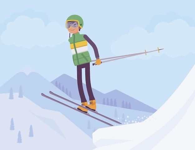 アクティブなスポーティな男スキー、ジャンプリゾートで冬のアウトドアの楽しみをお楽しみください